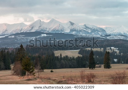 Tatra mountains - morning landscape over Spisz highland