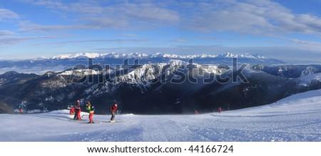 Tatras mountain ridge, Fropm the top of Chopok mountain - stock photo