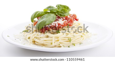 tatsty fresh spaghetti with tomato sauce and parmesan isolated on white background - stock photo