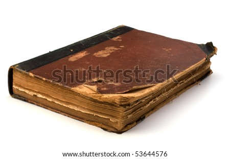 tattered book isolated on white background - stock photo