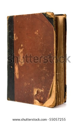 tattered book isolated on white background close up - stock photo
