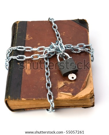 tattered book with chain and padlock isolated on white background
