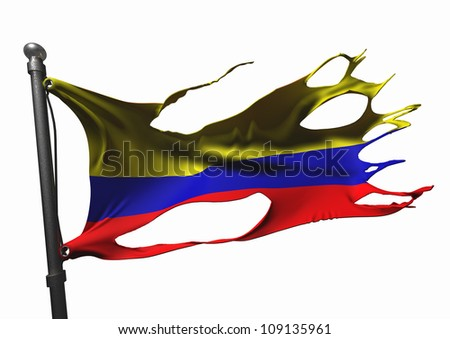 tattered columbian flag on white