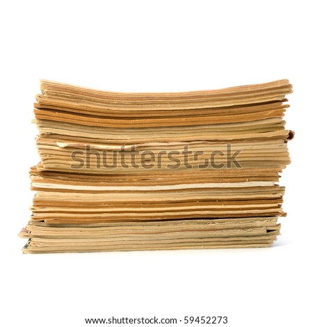 tattered journals stack isolated on white background - stock photo