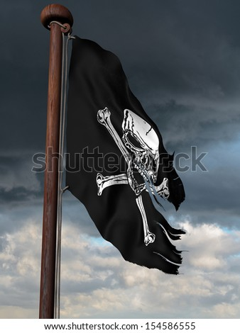 Tattered pirate flag flying high on a windy day - stock photo