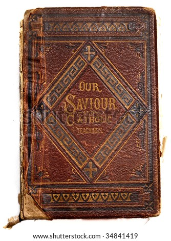 Tattered, Torn and Worn antique leather book cover from 1800's. Clean white background - stock photo