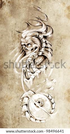 Tattoo art, animal monster and machine gears - stock photo