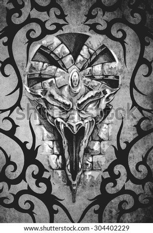 Tattoo art design, decorated with tribal gargoyle over antique paper - stock photo
