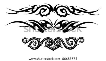 Tattoo art, sketch of a black tribal bracelet - stock photo