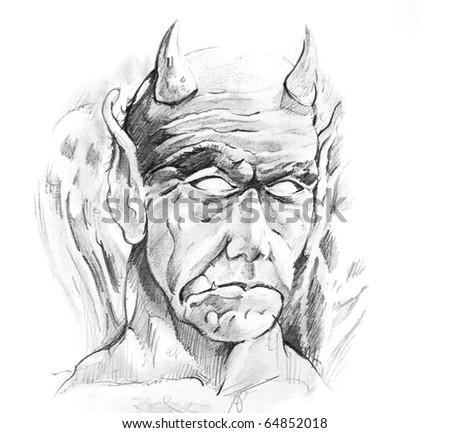 Tattoo art, sketch of a devil - stock photo
