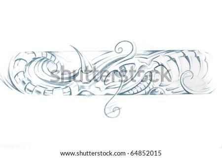 Tattoo art, sketch of a machine bracelet - stock photo