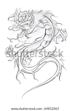 Tattoo art, sketch of a medieval dragon - stock photo