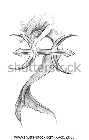 Tattoo art, sketch of a mermaid, pisces - stock photo