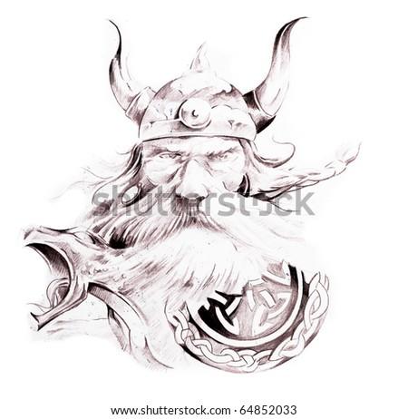 Tattoo art, sketch of a viking - stock photo