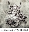 Tattoo art, sketch of a viking warrior, Illustration of an ancient wooden figurehead on a Viking longboat - stock