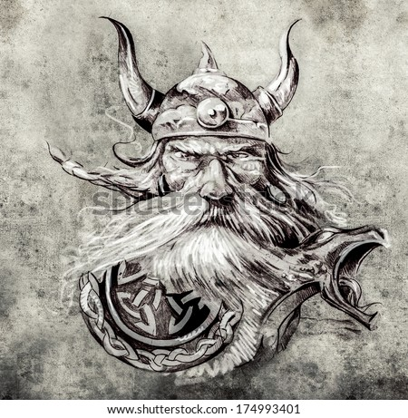 Tattoo art, sketch of a viking warrior, Illustration of an ancient wooden figurehead on a Viking longboat - stock photo