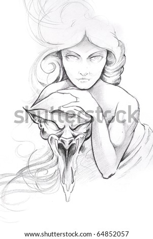 Tattoo art, sketch of a woman with mask - stock photo