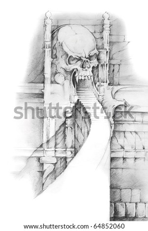 Tattoo art, sketch of hell gate - stock photo