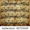 Tattoo art, skulls over old paper - stock photo