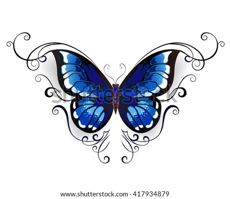 tattoo blue butterfly decorated with elegant pattern on a white background.Design with butterflies. Tattoo style. Gothic style.  Tribal graphics. Style sketch.  - stock photo