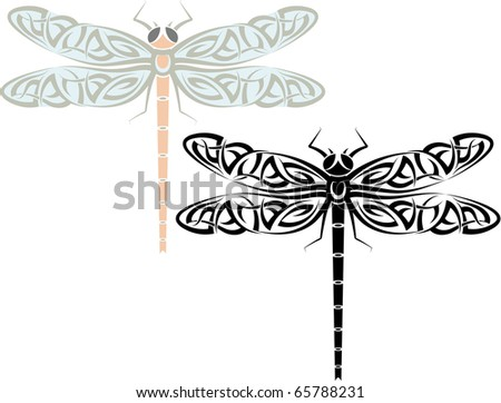 Celtic Dragonfly Drawings Tattoo Dragonfly Stock Photo