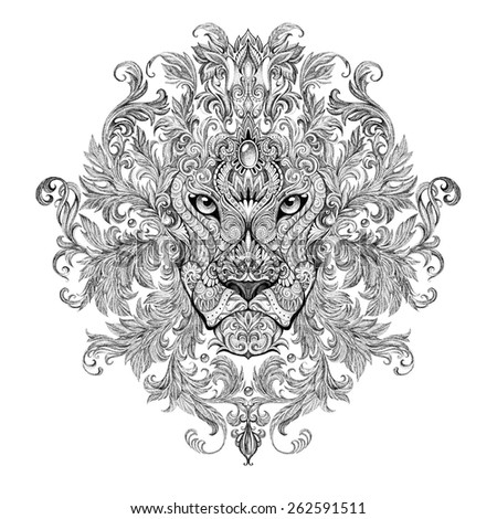 Tattoo, graphics head of a lion with a mane of black and white graphics on a white background with floral ornaments - stock photo