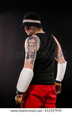 Tattoo man from back - stock photo
