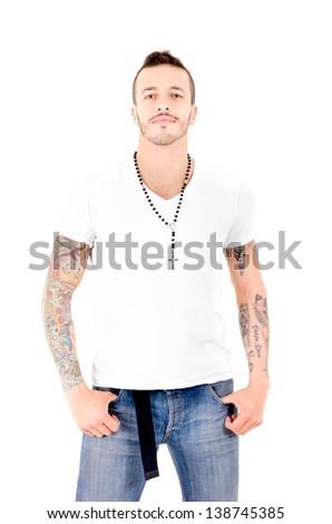 Tattooed gangster - stock photo