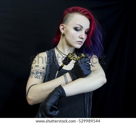 Tattooed Girl Red Violet Hair Different Stock Photo (Edit ...