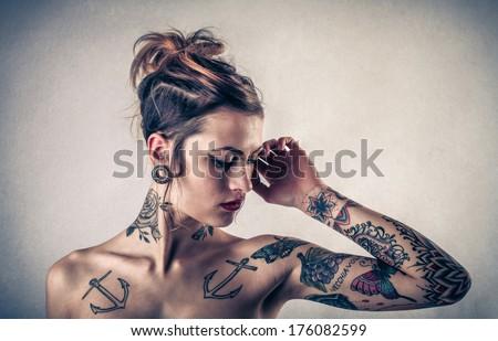 tattooed lady - stock photo
