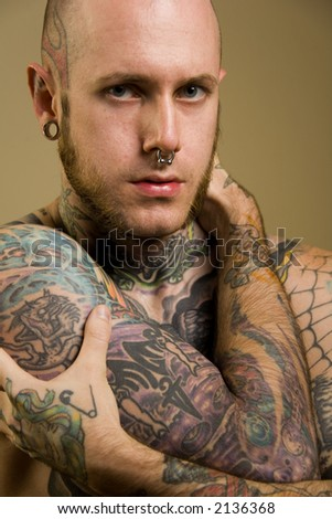 Tattooed male - stock photo
