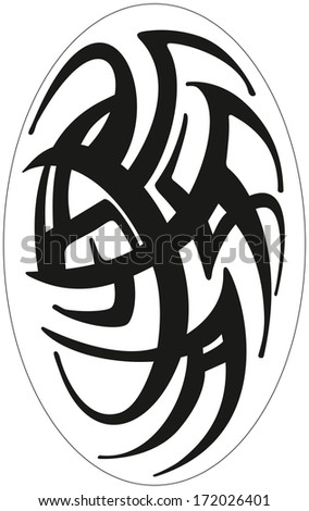 Tattoos, symmetrical abstract ornament. Black lines on a white background. Oriental pattern resembles wrought-iron gates. Lines resemble snakes. Openwork lace, fragment. Chinese character, inscription - stock photo