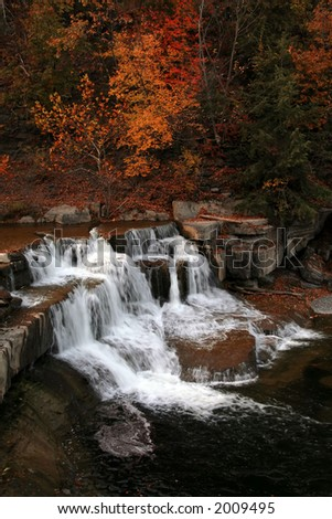 Taughannock Creek in Autumn, Taughannock Falls State Park, Trumansburg, NY - stock photo