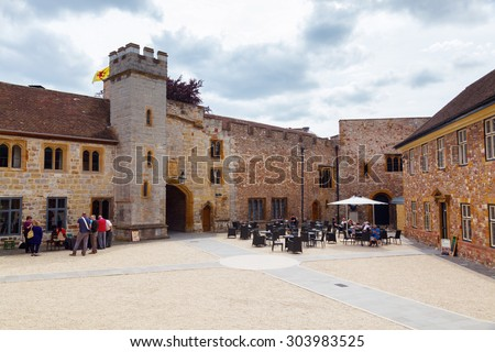 TAUNTON, ENGLAND - JUNE 27, 2015: Museum of Somerset with unidentified people. The museum lies within the 12th Century Taunton Castle and tells the countys story from prehistoric times to present day - stock photo