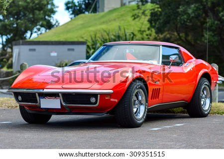 TAURANGA, NEW ZEALAND - 27 FEBRUARY 2015: The Chevrolet Corvette Coupe Stingray 1974. The 1969 through 1976 models mark the second generation of the Corvette Stingray. - stock photo