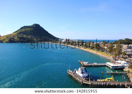 Tauranga, New Zealand, the city surrounded by water - stock photo