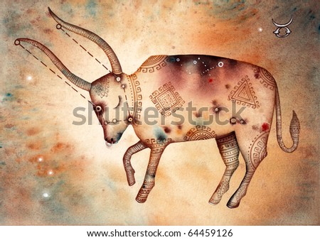 Taurus. Logo-like Zodiac Star Signs - stock photo