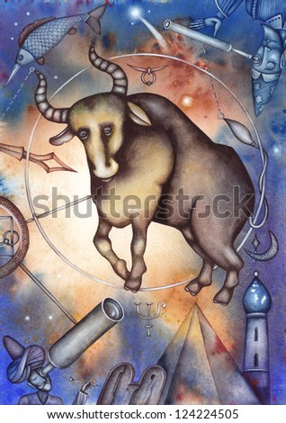 Taurus. Zodiac sign, symbol in watercolor style. Part of a set ot 12. Illustration by Eugene Ivanov. - stock photo