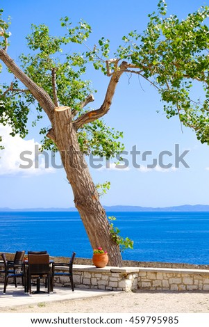 Tavern view by the sea with tree on the high grounds of Corfu old fortress, Corfu Town, Greece - stock photo