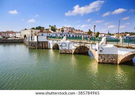TAVIRA, ALGARVE, PORTUGAL - CIRCA SEPTEMBER, 2015: The Rio Gilao promenade of Tavira town on the Algarve in southern Portugal - stock photo