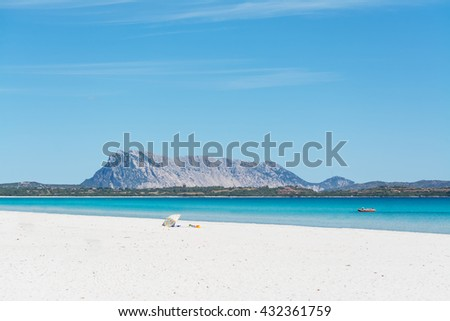 Tavolara seen from La Cinta beach in San Teodoro, Sardinia - stock photo
