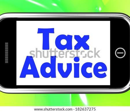 Tax Advice On Phone Showing Taxation Irs Help - stock photo