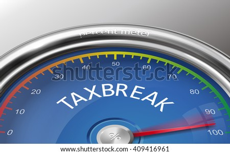 tax break conceptual 3d illustration indicator isolated on grey background - stock photo
