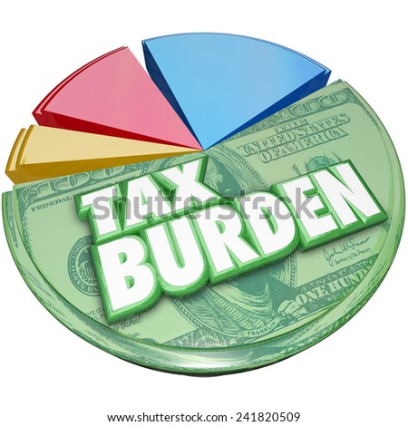 Tax Burden words on a 3d pie chart to illustrate a high percentage of income or revenue owed to the government - stock photo
