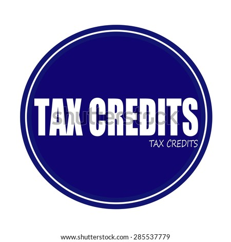 TAX CREDITS white stamp text on blue - stock photo