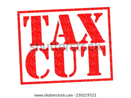 TAX CUT red Rubber Stamp over a white background. - stock photo