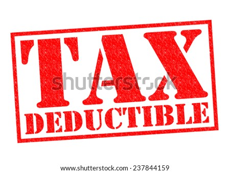 TAX DEDUCTIBLE red Rubber Stamp over a white background. - stock photo