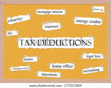 Tax Deductions Corkboard Word Concept with great terms such as charity, mileage, losses and more. - stock photo