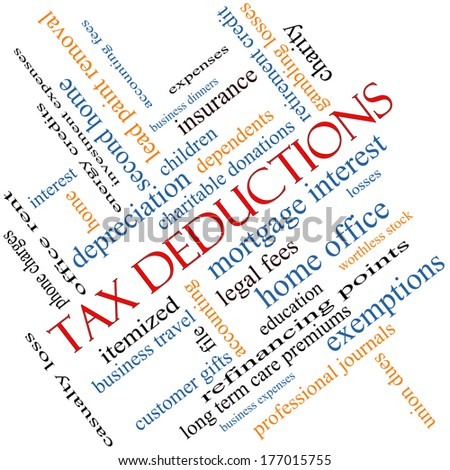 Tax Deductions Word Cloud Concept angled with great terms such as mortgage, dependents, fees and more. - stock photo