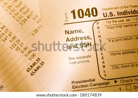 Tax form and annual budget - stock photo